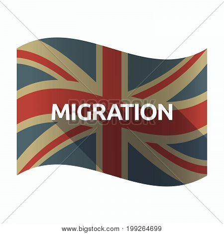 Isolated Uk Flag With  The Text Migration