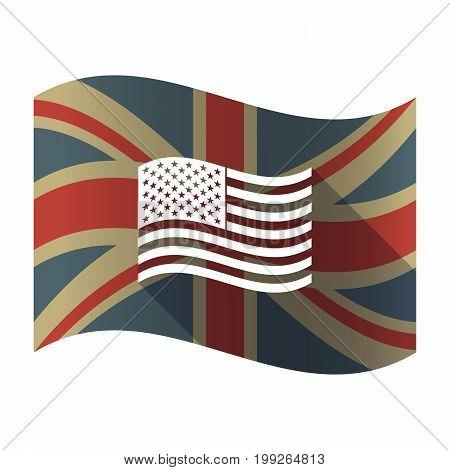 Isolated Uk Flag With  The Unites States Of America Waving Flag