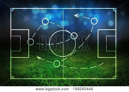 Abstract field outline on creative blurry grass background. Strategy and tactics concept. 3D Rendering