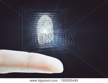 Finger holding abstract glowing binary code fingerprint scan on dark background. Security concept