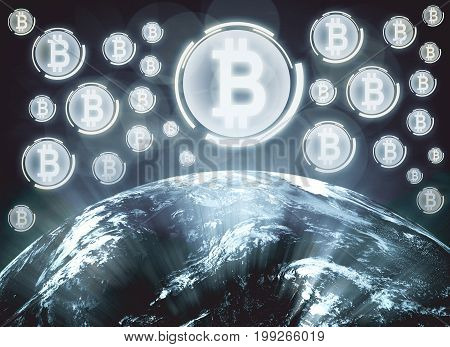 Abstract background with globe and bitcoins. E-business and e-commerce concept. 3D Rendering.