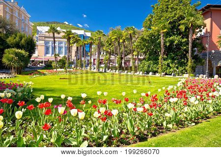 Mediterranean Park In Town Of Opatija Flowers And Palms View