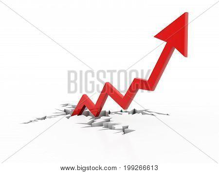 Business graph, arrow 3d rendering, business growth concept, 3d rendering