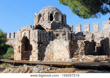 Ruined Byzantine church inside Alanya Castle (Alanya, Turkey).