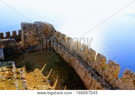 Sea view from the observation deck of Alanya Castle (Alanya, Turkey).