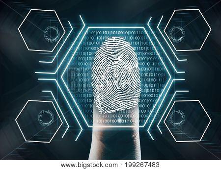 Futuristic fingerprint scanning device biometric security system. Innovation concept. 3D Rendering