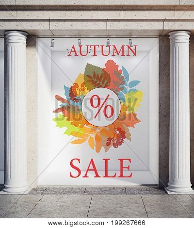 Storefront window display glass showcase exterior with concrete columns and creative autumn leaves fall foliage sale sketch drawing in daylight. Discount concept. 3D Rendering