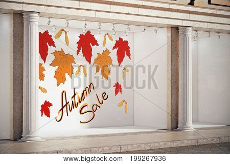 Storefront window display glass showcase exterior with concrete columns and creative autumn leaves fall foliage sale sketch drawing in daylight. Price and promotion concept. 3D Rendering