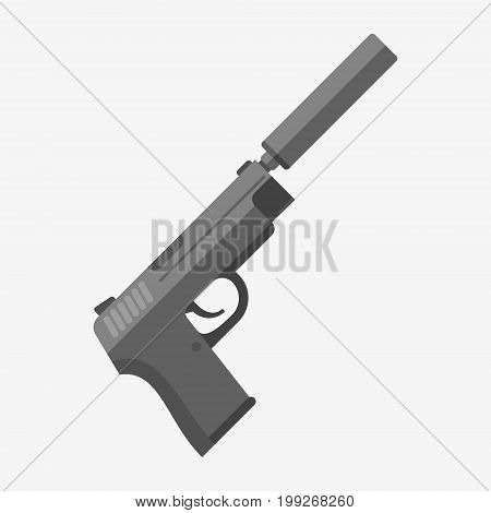 Gun with silencer isolated on white background. Automatic pistol flat style vector illustration.