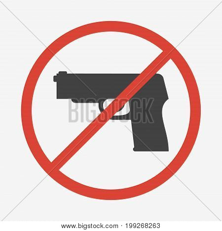 No guns or weapons sign isolated on white background. Vector illustration.