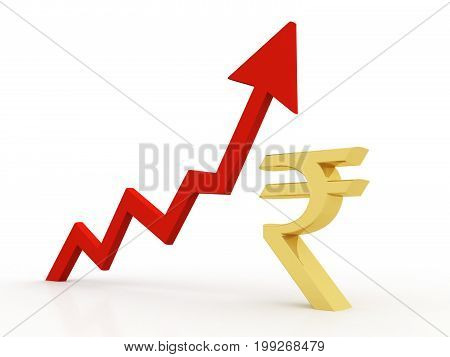 Business graph with Indian rupee sign. 3d rendering
