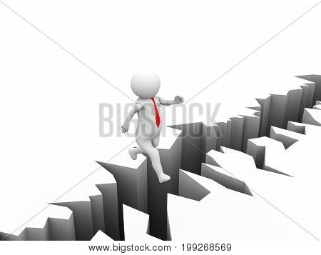 Avoid business problem, trouble. Overcome obstacle, crisis, risk concept, 3d Businessman jump over earth crack.