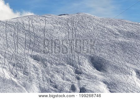 Slope For Freeride With Traces From Skis And Snowboards