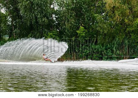 Waterskier Creating A Wave