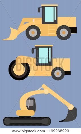Set of road construction machinery road roller excavator wheel loader flat images in vextor