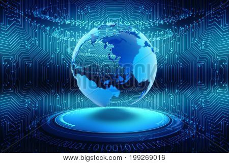 globe internet connecting, Digital Abstract technology background, 3d rendering