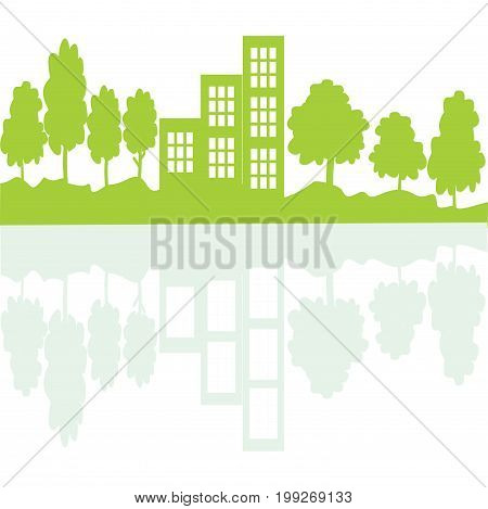 Eco living concept in mirror. Green tress and buildings on landscape