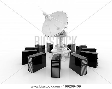 Global communication with Satellite and Server, 3d rendering