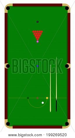 Snooker table top view flat image in vector