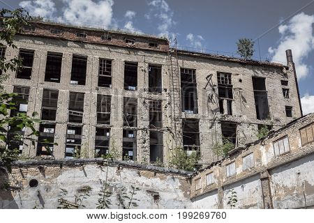 Abandoned building, ruined factory, can be used as Consequences of war, devastation, natural disasters