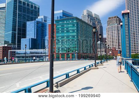 Boston Massachusetts USA - July 15 2016: Boston skyline from Seaport boulevard bridge Massachusetts USA