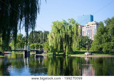 Boston Massachusetts USA - July 2 2016: The Public Garden in Boston founded 1837.Also known as Boston Public Garden is a large park located in the heart of Boston Massachusetts adjacent to Boston Common.