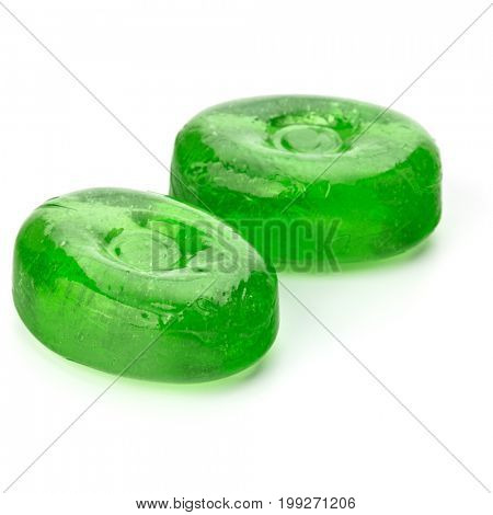 Two colorful fruit hard sugar candies,  boiled sweeties or sugar plums isolated on white background cutout