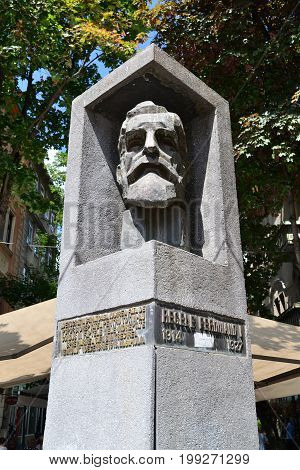 TIMISOARA ROMANIA - 07.08.2017: Revolution Square King Ferdinand I statue landmark architecture