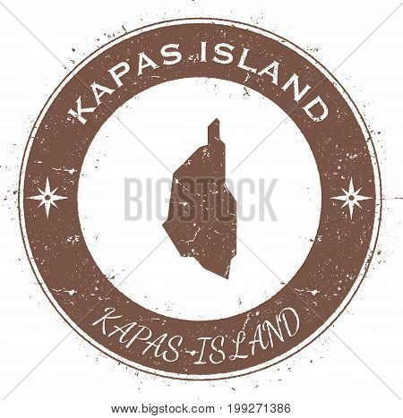 Kapas Island Circular Patriotic Badge. Grunge Rubber Stamp With Island Flag, Map And Name Written Al