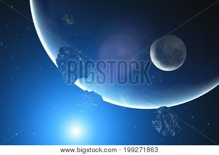 Planet, asteroids, meteors on a starry sky. 3D render / illustration.