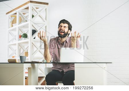 Angry Furious Businessperson Using Laptop