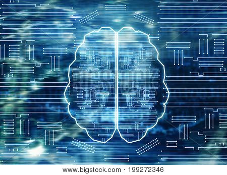 Abstract circuit brain on city background. Artificial intellect concept. 3D Rendering