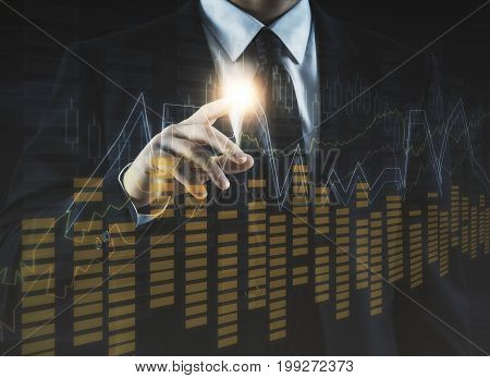 Businessman pointing at abstract forex chart. Accounting trade and finance concept. Double exposure