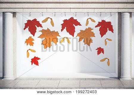 Storefront window display glass showcase exterior with concrete columns and creative autumn leaves fall foliage sale sketch drawing in daylight and copy space. Season concept. 3D Rendering