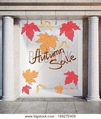 Storefront window display glass showcase exterior with concrete columns and creative autumn leaves fall foliage sale sketch drawing in daylight. Seasonal concept. 3D Rendering