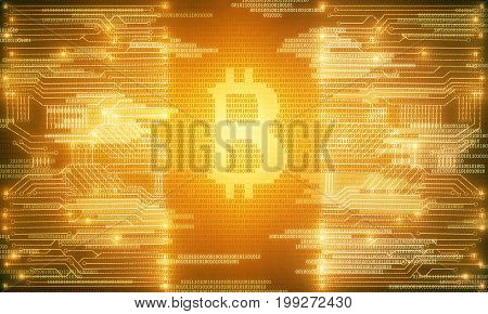 Bright glowing golden circuit bitcoin background. Technology and e-commerce concept. 3D Rendering