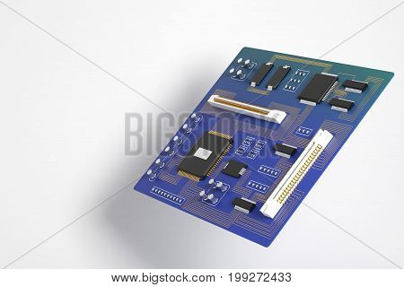 Side view of blue motherboard on white background. Technology circuit equipment processor concept. 3D Rendering