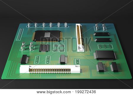 Front view of green motherboard on dark background. Technology circuit equipment processor concept. 3D Rendering