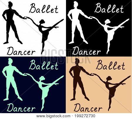 Ballet dancers man woman silhouette vector colored illustration sketch