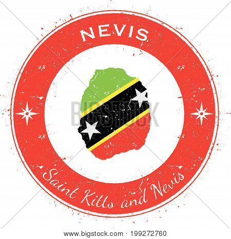 Nevis Circular Patriotic Badge. Grunge Rubber Stamp With Island Flag, Map And Name Written Along Cir