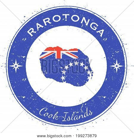 Rarotonga Circular Patriotic Badge. Grunge Rubber Stamp With Island Flag, Map And Name Written Along