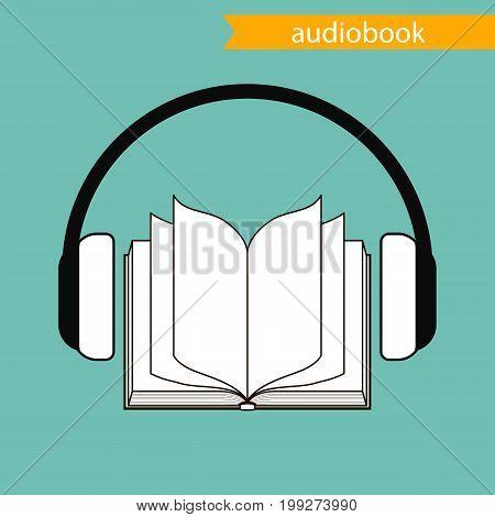 the audiobook icon. vector illustration. black contour.