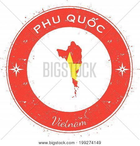 Phu Quốc Circular Patriotic Badge. Grunge Rubber Stamp With Island Flag, Map And Name Written Along