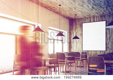 Cafe with a wooden wall and ceiling a vertical framed poster on a wall wooden tables with gray chairs. Corner people. A white and wooden bar stand. 3d rendering mock up toned image double exposure