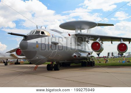 Moscow Region - July 21 2017: Aircraft early warning and control aircraft A-50 (on the codification of NATO: Mainsta) at the International Aviation and Space Salon (MAKS) in Zhukovsky.
