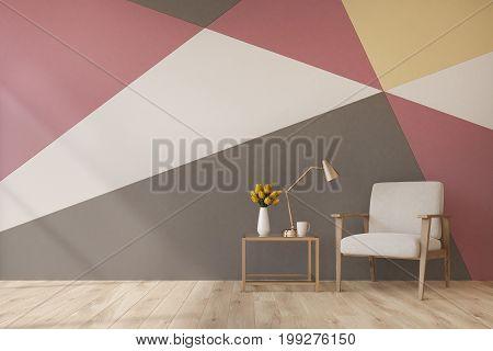 Living Room, Geometric Pattern Wall