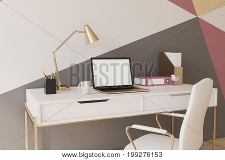 Black, Red, Yellow And White Home Office Closeup