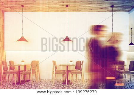 People in white cafe interior with a wooden wall and a ceiling a geometric floor pattern square tables and gray chairs near them. Low hangings lamps. 3d rendering mock up toned image double exposure