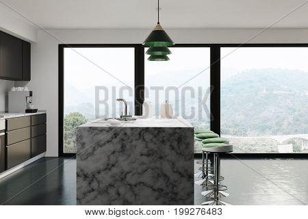 White Kitchen, Dark Marble Bar, Side