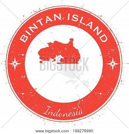 Bintan Island Circular Patriotic Badge. Grunge Rubber Stamp With Island Flag, Map And Name Written A
